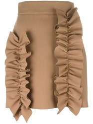 Msgm Ruffled Detail Fitted Skirt Nude Neutrals