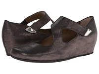 Anyi Lu Shirlee Graphite Shimmer Suede Women's Wedge Shoes Gray