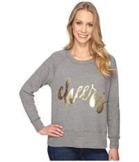 Allen Allen Cheers Long Sleeve Raglan Crew Zinc Women's Long Sleeve Pullover Blue