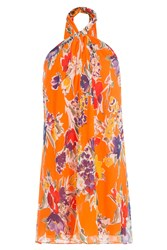 Polo Ralph Lauren Printed Silk Halter Neck Dress Orange