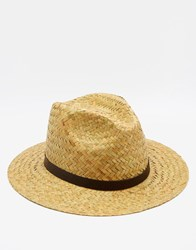 Catarzi Fedora Wide Brim Straw Hat Beige