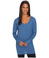 Lucy Take A Pause Long Sleeve Tunic Poseidon Heather Women's Long Sleeve Pullover Blue