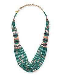 Turquoise And Coral Long Beaded Necklace 38' Devon Leigh Turquoise Coral