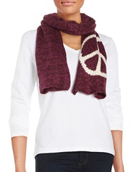 Wooden Ships Peace Sign Knit Scarf Wine