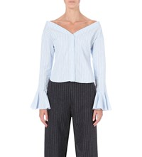 Jacquemus La Chemise Epaules Off The Shoulder Cotton Shirt White Sky Blue Stripes