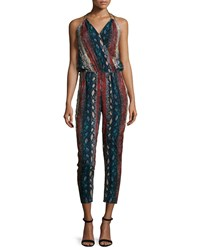 Ella Moss Halter Neck Snake Print Jumpsuit Night Black