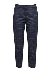 Great Plains Katrina Check Tailored Trousers Blue