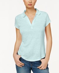 Maison Jules Short Sleeve Eyelet Collar Polo Only At Macy's Whispering Blue
