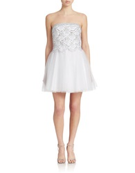 Basix Ii Strapless Sequined Cocktail Dress White