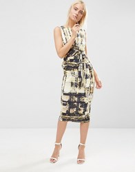 Asos Knot Side Bodycon Dress In Shadow Floral Print Multi