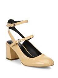 Rebecca Minkoff Brooke Patent Leather Mary Jane Block Heel Pumps Nude