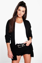 Boohoo Slouchy Boyfriend Cardigan With Pockets Black