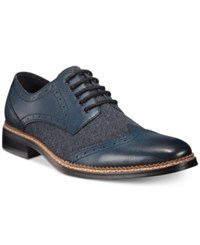 Bar Iii Monte Mixed Media Wing Tip Oxfords Men's Shoes Navy