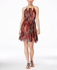 Thalia Sodi Printed Halter Chain Neck A Line Dress Only At Macy's Rich Coral Combo