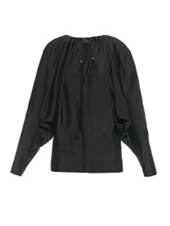 Lanvin Drape Shoulder Tie Neck Blouse