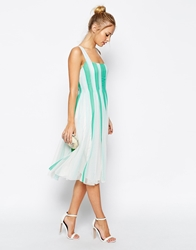 Asos Mesh Insert Fit And Flare Square Neck Midi Dress Mint