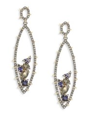 Alexis Bittar Spiked Crystal Encrusted Gemstone Cluster Drop Earrings Gold Multi