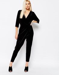 Monki Wrap Front Jumpsuit Black