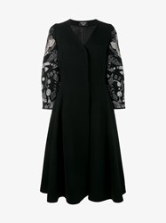 Creatures Of The Wind Swarovski Crystal Embellished Wool Coat Black Silver