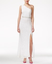 Speechless Juniors' One Shoulder Glitter Lace Column Gown With Side Slit White