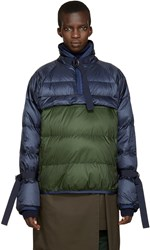 Sacai Navy And Green Down Jacket