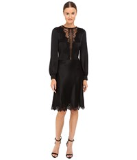 Alberta Ferretti Long Sleeve Sheer Lace Neckline Dress Black Women's Dress