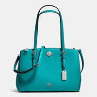 Coach Turnlock Carryall 29 In Crossgrain Leather Silver Turquoise