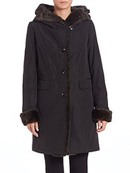 Jane Post Storm Faux Fur Trim Coat Black