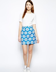 Boutique By Jaeger Skirt In Floral Jacquard Blue