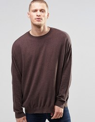 Asos Cotton Jumper In Boxy Fit Navy And Tan Twist Brown