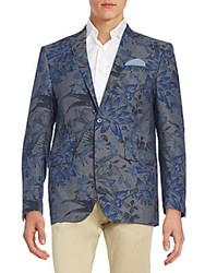 Tallia Slim Fit Floral Print Cotton Blazer Denim