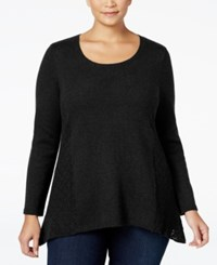 Styleandco. Style Co. Plus Size Pointelle Sweater Only At Macy's Deep Black