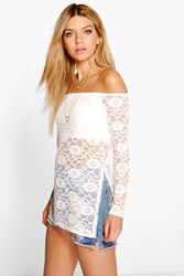 Boohoo Longline Lace Off The Shoulder Top Cream