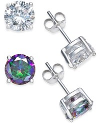 Giani Bernini Cubic Zirconia Stud And Mystic Topaz Stud 4 C.T. T.W. Duo Set Of Earrings In Sterling Silver Only At Macy's