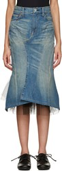 Junya Watanabe Blue Denim And Tulle Skirt
