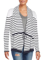 Saks Fifth Avenue Striped Cardigan White Navy