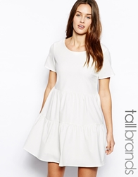 Glamorous Tall Tiered T Shirt Swing Dress With Exposed Zip Cream