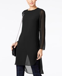 Alfani Illusion Chiffon Tunic Only At Macy's Deep Black
