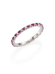 Kwiat Diamond Ruby And 18K White Gold Eternity Stacking Ring White Diamond Ruby