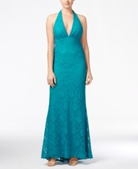 Jump Juniors' Halter Lace Gown Teal