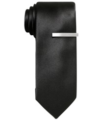 Alfani Red Solid Skinny Tie Black