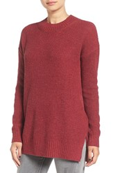 Women's Bp. Ribbed Mock Neck Pullover Red Rumba Heather