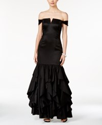 Adrianna Papell Off The Shoulder Ruffled Mermaid Gown Black