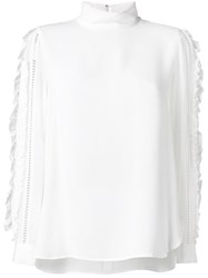 Muveil Embellished Sleeves Blouse White