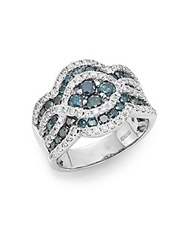 Effy Final Call 4.77 Tcw Diamond And 14K White Gold Woven Ring White Gold Blue