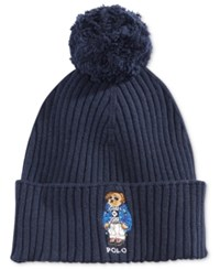 Polo Ralph Lauren Men's Ski Bear Pom Pom Hat Hunter Navy Ski Bear