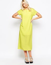 The Whitepepper Long T Shirt Dress In Neon Yellow Yello
