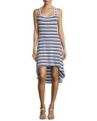 Marc Ny Performance Striped High Low Tank Dress White Navy