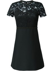 Valentino Studded Lace Crepe Couture Dress Black