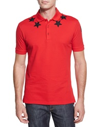 Givenchy Star Print Knit Polo Shirt Red